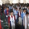 اجرای طرح سفره های همدلی با حضور ۳۰۰ نفر از دانش آموزان انجمنی خواف در حوزه علمیه احناف